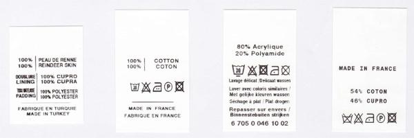 tiquettes sur mesure composition labels. Black Bedroom Furniture Sets. Home Design Ideas